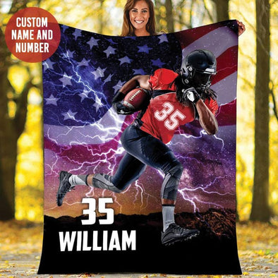 Football Player Flag Name and Number Fleece Blanket #809H