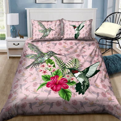 Tropical Hummingbird Hawaiian Aloha Duvet Cover Bedding Set