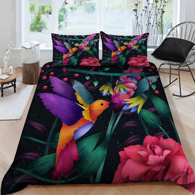 Colorful Hummingbird Art Duvet Cover Bedding Set