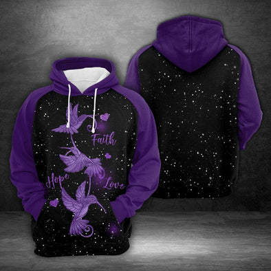 Hummingbird Faith Hope Love Galaxy Hoodie 3D All Over Print #V