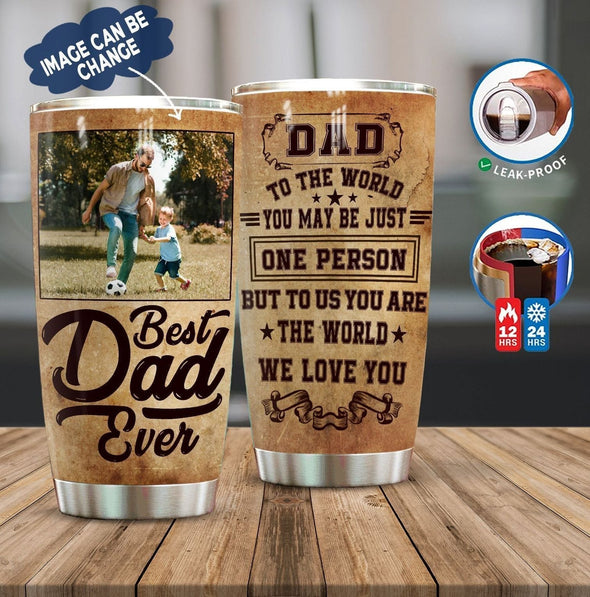 Custom photo Best Dad ever Tumbler Cup 20oz Father's day Gift