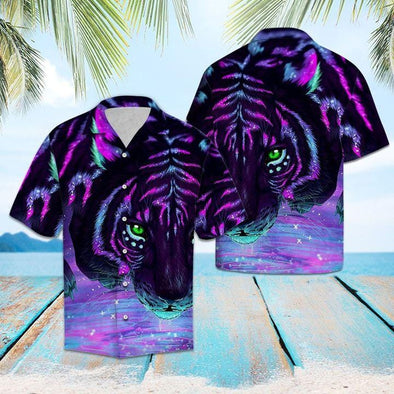 Galaxy Purple Light Tiger Hawaii Shirts #H