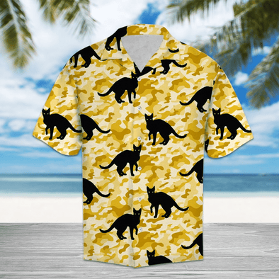 Black Cat Camo Hawaiian Aloha Shirts #HL