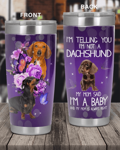 Baby Dachshund Dog Stainless Steel Tumbler with Your Name gift for dog lover #V