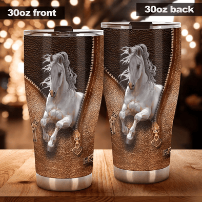 Horse White Stainless Steel Tumbler with Your Name #V