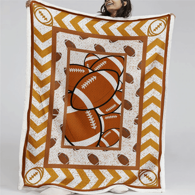 Football American Ball Pattern Fleece Blanket