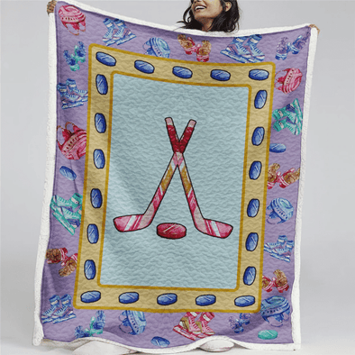 Hockey Christmas Pattern Fleece Blanket