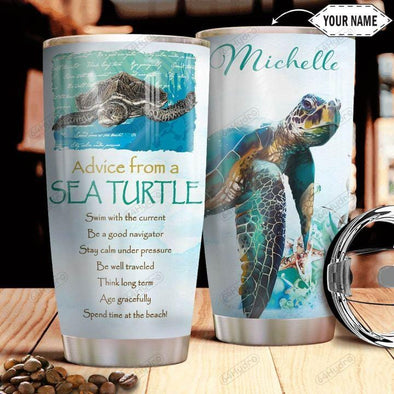 Sea Turtle Stainless Steel Tumbler with Your Name #V