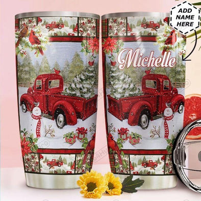 Cardinal Red Truck Chritsmas Stainless Steel Tumbler with Your Name #V