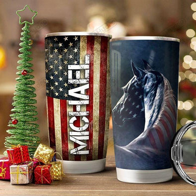 American Flag Horse Stainless Steel Tumbler with Your Name #V