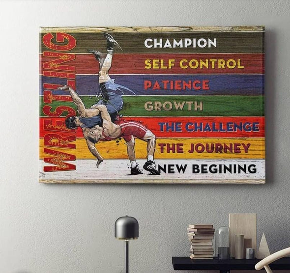 Wrestling Champion Canvas Wall Art