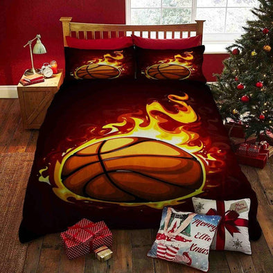 Basketball Fire Art Custom Name Duvet Cover Bedding Set