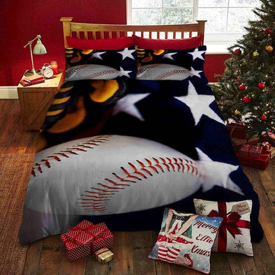 Baseball Ball Stars Background Custom Duvet Cover Bedding Set with Your Name