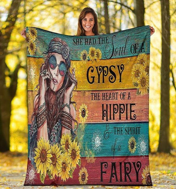 Sunflower Hippie She Had The Soul Of A Gypsy Blankets