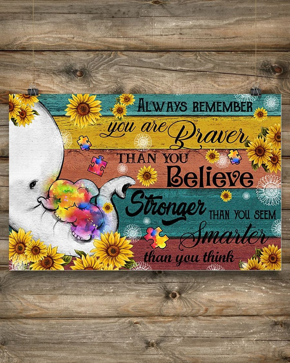 Elephant Sunflower Always Remember Canvas Prints