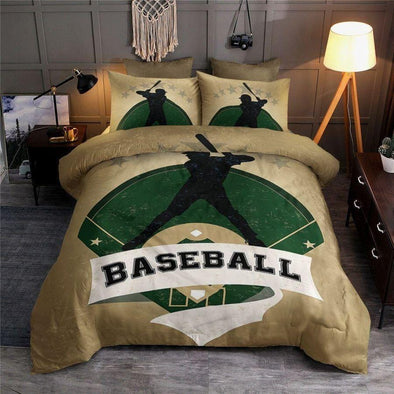 Baseball Player Field Background Custom Duvet Cover Bedding Set with Your Name
