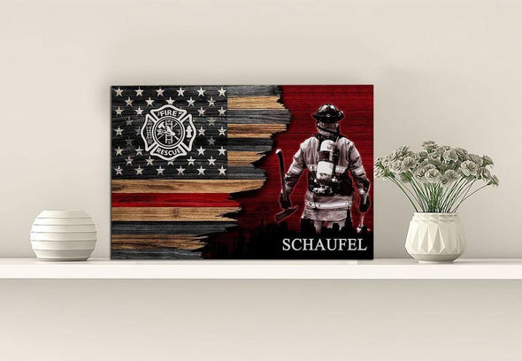 Firefighter Custom Name Canvas Prints