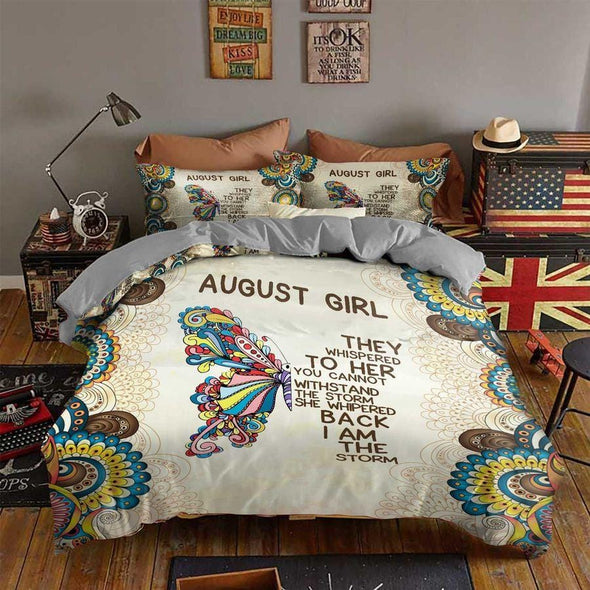 August Girl Butterfly Bedding Custom Month Duvet Cover Bedding Set
