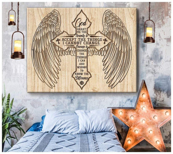 Christ Cross Serenity Angel Wings Canvas Wall Art