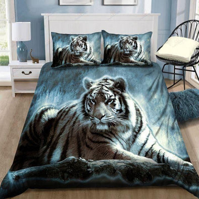 White Tiger Vintage Bedding Custom Name Duvet Cover Bedding Set