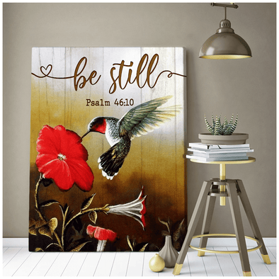 Be Still Red Flower Hummingbird Canvas Wall Art