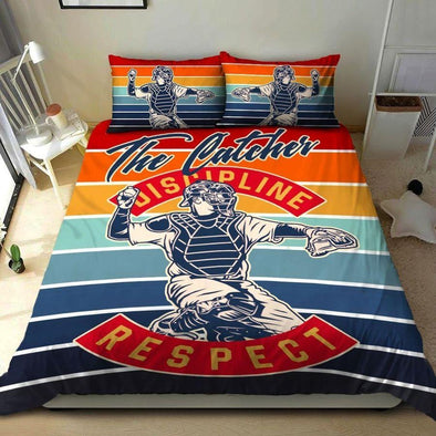 Baseball The Catcher Discipline Respect Custom Duvet Cover Bedding Set with Your Name