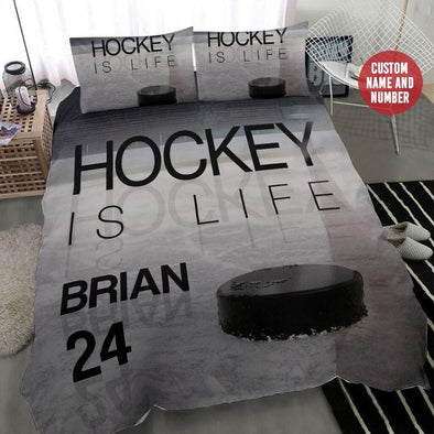 Hockey Is Life Duvet Cover Bedding Set with Your Name #109h
