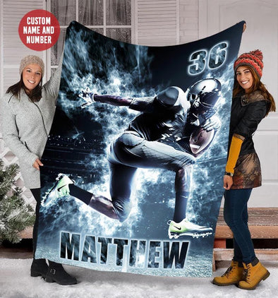 Custom Blankets Football Player Smoke With Name and Number #1009L