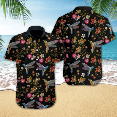 Hawaiian Aloha Shirts Hummingbird Embroidery #H