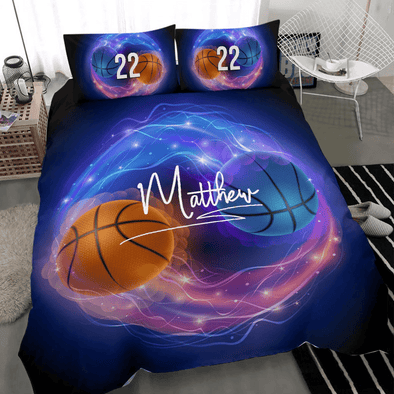 Basketball Ying Yang Custom Duvet Cover Bedding Set with Your Name And Number #V