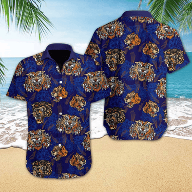 Hawaiian Aloha Shirts Tiger Tattoo Style #V