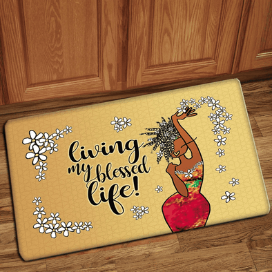 Door mat African American Girl Living In Blessed Life #H