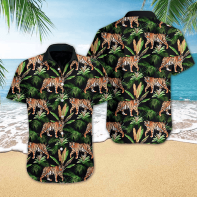 Hawaiian Aloha Shirts Tiger Tropical #V