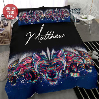 Colorful Tigers Art Custom Name Duvet Cover Bedding Set #1109L