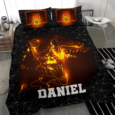 Basketball On Fire Custom Duvet Cover Bedding Set with Your Name #V
