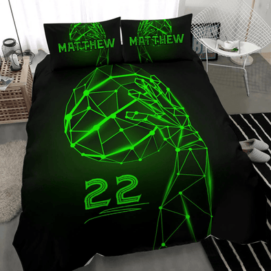 Basketball Green Neon Ball Custom Duvet Cover Bedding Set with Your Name And Number #H