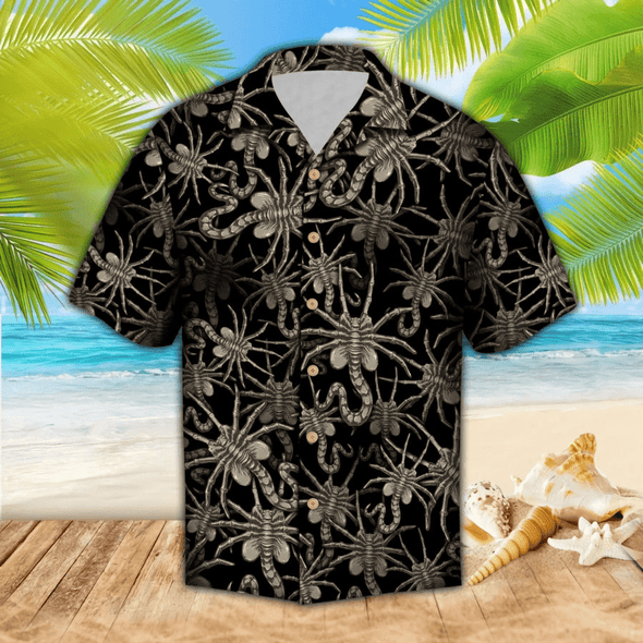 Hawaiian Aloha Shirts Alien Face Hugger #DH