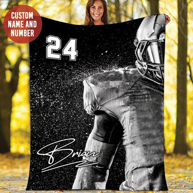 Football American Player Black White Custom Blanket #129h