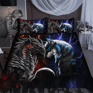 Red Blue Dragon and Wolf Custom Name Duvet Cover Bedding Set #DH