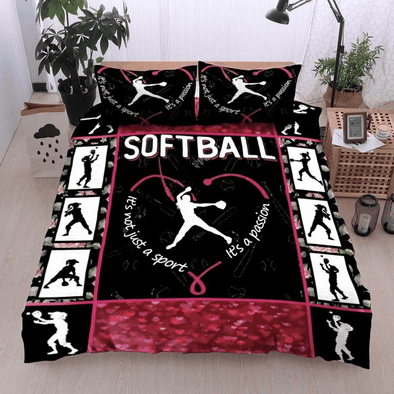 Softball Passion Custom Duvet Cover Bedding Set with Name
