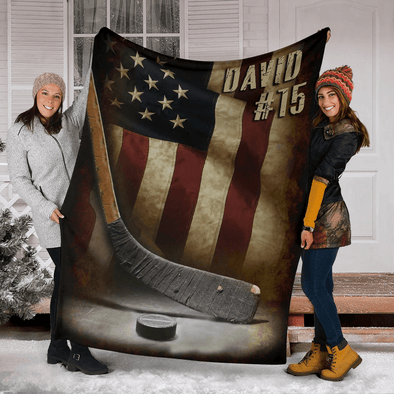 Hockey Us Flag Custom Name and Number Blanket