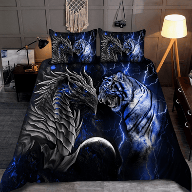 Blue Dragon and Tiger Custom Name Duvet Cover Bedding Set