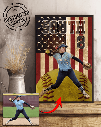 Custom Softball Player Flag Canvas Prints With Photo
