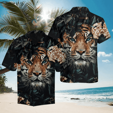 Hawaiian Aloha Shirts Tiger Flower