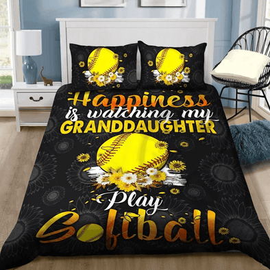 Softball Happiness Custom Duvet Cover Bedding Set with Name