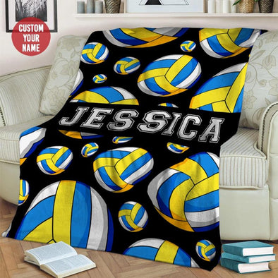 Volleyball Pattern Custom Name Fleece Blanket #1409L