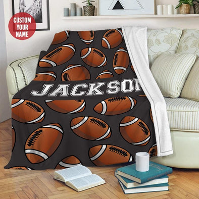 American Football Custom Name Fleece Blanket #1409L