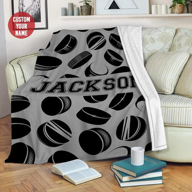Hockey Puck Pattern Custom Name Fleece Blanket #1409L