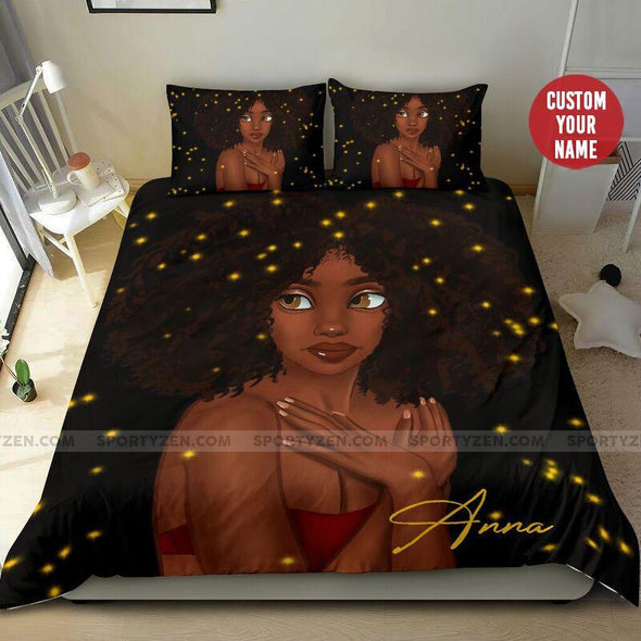 Black Woman Afro Hairstyle African Custom Name Duvet Cover Bedding Set #1506h