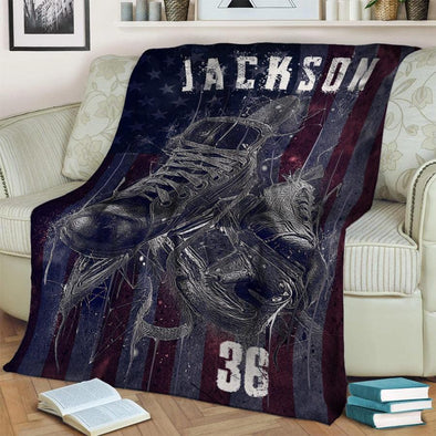 Hockey Skate American Flag Customized Name and Number Fleece Blanket #1510l